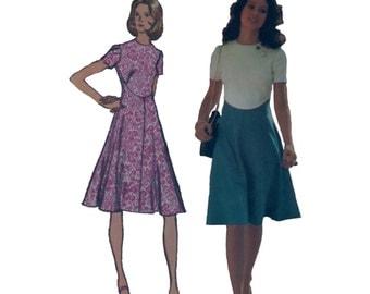 70s Fit and Flare Dress pattern SALE Color Block Dress vintage pattern 34-26.5-36 designer simplicity 9912