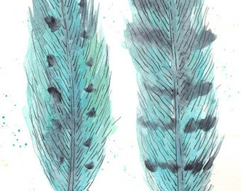 Found Turquoise Feathers Original Watercolor