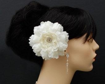 Wedding Hair Flower, Bridal Hair Flower, Sash Flower  - Large Sparkling Elegance
