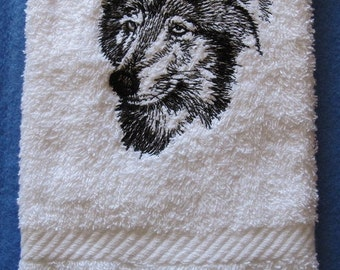 Wolf Face  Black Outline On White Bath Hand Towel