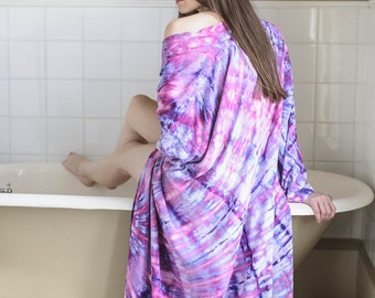 Hand Dyed Dream Girl Kimono Robe In Silky Rayon - Tie Dye