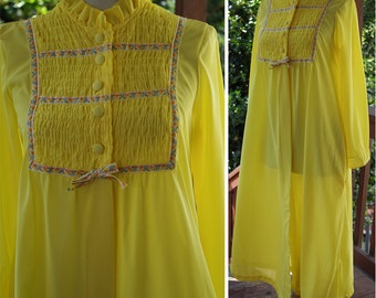 SUNNY 1960's 70's Vintage Long Bright Yellow Nightie Slip Gown with Floral Trim // by Cherri Lynn Jr. // size Small