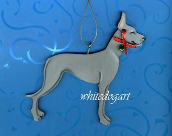 Handpainted Blue Great Dane Christmas Ornament