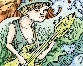 "PRINT artist trading card ""Bass Bass"" by Poxodd ~ Reproduction  ACEO. 2.5"" X 3.5"". Fish, guitar, waves, music, instrument."
