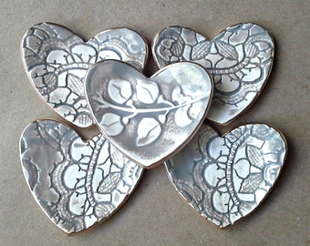FIVE Heart Ring Bowls Bridal Shower favors wedding favors ceramic itty bitty TAUPE edged in gold