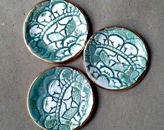 THREE Sea green  Itty Bitty Ceramic Ring Dishes Baby shower