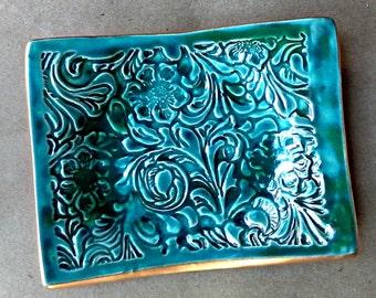 Dark Malachite GREEN Flourish Trinket  Dish Soap Dish edged in gold