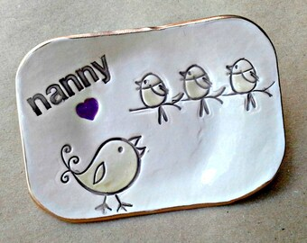 NANNY Trinket  Dish 3 Birdies Mothers Day