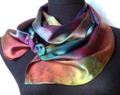 Hand Dyed Silk Charmeuse Scarf in Multicolors