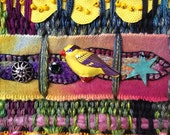 Hand Dyed Handwoven Tapestry in Cotton, Silk, and Wool, Needle Felting and Embroidery with Beading