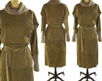 Suede Dress with Knit Turtleneck & Cuffs / Vintage 1980s Soft Suede Sack Dress with Belt