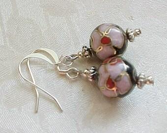 Flower Cloisonne Earrings Asian Earrings Japanese Geisha Earrings Dangle Earrings Beige Earrings Black Earrings Cherry Blossom Minimalist