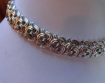 Silvertone Chain Link Choker Style Necklace by Monet
