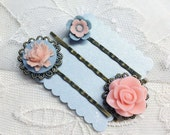 Pastel blue and peach bobby pin set  Peach blue flower bobby pin set coral blue flower bobby pin