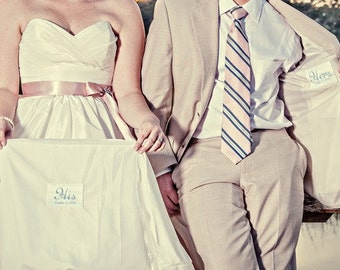 His and Hers Wedding Gown and Jacket labels