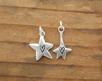 Sterling Silver Star Necklace Set - Mother-Daughter Star Pendants
