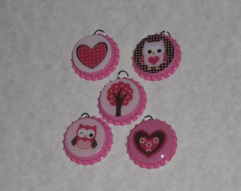 5 Pink Bottle Caps Valentine Heart Owl Tree Love Charms Ornaments Ornies Party Favors Scrapbooking Ornies Gift Ties