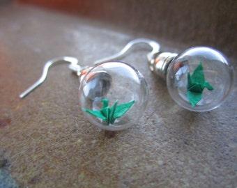 Origami Paper Crane Under Glass Earrings, Green Crane In A Bottle