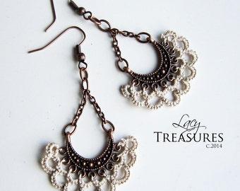LACE Earrings . Spring Summer Wedding Jewelry . Copper chandelier earrings . Boho earrings . Long dangle earrings . Lace Jewelry
