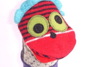 Puppet critter named Bernice  made of 100% recycled wool sweaters