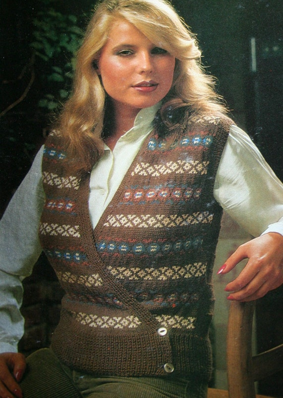 Vest Knitting Pattern Fair Isle Waistcoat FRENCH Women Sizes 38 ...