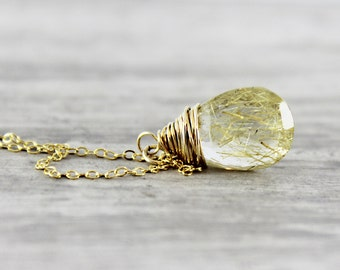 Golden Gemstone Necklace, Golden Rutilated Quartz Necklace, Gold Fill Necklace, Wire Wrap Necklace, Pendant Drop Necklace, Yellow Necklace