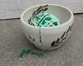 Yarn Knitting Pottery Bowl Fawn Speckled White with Black Leaf Design