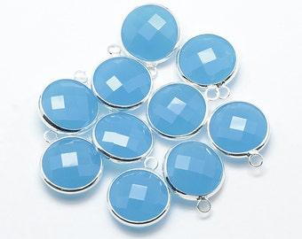 2 Faceted Round Glass Pendants, Turquoise Blue Drops with a Smooth Silver Plated Bezel
