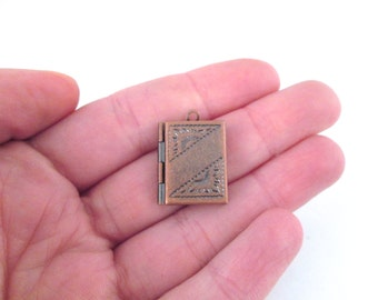 4 copper book locket charms 16x22mm