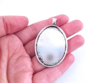 30x40mm silver plated oval bezel pendant settings, pick your amount B119