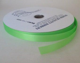 "Bright Green Satin Ribbon (single faced) 5/8"" wide - 3 yards"