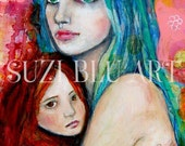 Close Up Print of  Mother and Child Original Mixed Media Painting by Suzi Blu