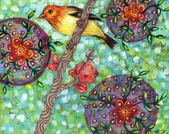 Western Tanager with Flowering Quince 6x6 inch print on wood