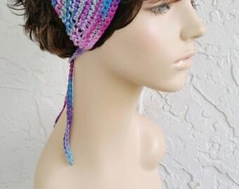 hand knit bandana dorag women accessories head scarf kerchief chic boho hair net ~ gypsy spirit knit ~ blue purple