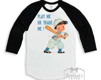 "Boy Baseball Shirt - ""Play Me or Trade Me!"" - Black Baseball Tee - Baseball Shirt Little League - Custom Size Retro Infant to Youth Sizes"