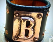 Leather cuff Bracelet hand hammered Copper Initial and sterling silver concho Chase/Repousse Handmade for YOU in NYC by Freddie Matara