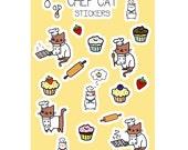 Chef Kitty Cat Sticker Sheet