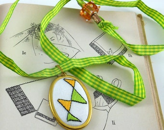 Pendant Hand Embroidered Abstract Triangles with Adjustable Ribbon Mother's Day Geometry Geek