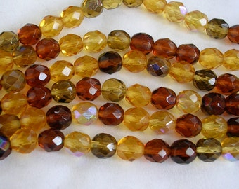 Czech Glass Beads CLOSEOUT SALE (GB143) 8mm Faceted Round Topaz Mix Seven Inch Strand