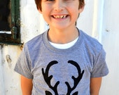 Short Sleeve Tshirt Triblend Grey Deer Buck Doe Antlers Reindeer Ugly Christmas Sweater Tacky Kids Pajamas Holiday Children Men Card