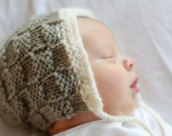 Basketweave Baby Bonnet - Knitting PATTERN - pdf format for newborn, infant