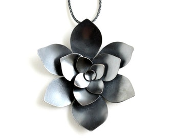 Silver Statement Necklace - Silver Flower Necklace - Succulent Jewelry