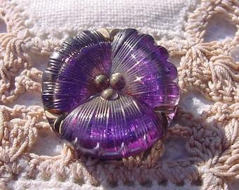 Petite Purple Pansy Czech Glass Button