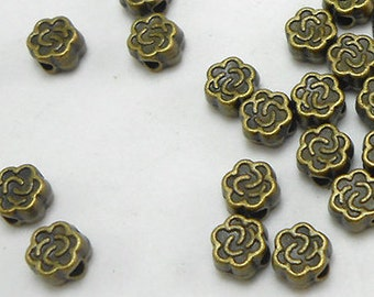 30 Metal Flower Beads 5MM bronze brass tone spacers (H8163)