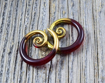 14G - 2G | Gold Tipped Garnet | Mini Spirals Made to Order - Gauged Glass Body Jewelry for Stretched Piercings by Glassheart