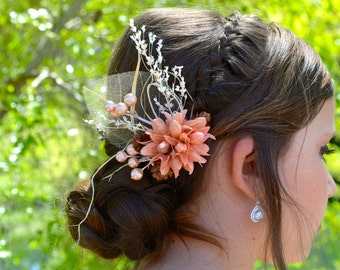 Natural Rustic Hair Clip, Boho Bride, Dried Flower Hair Clip, Rustic Hair, Boho Hair Clip, Bridal Clip, Real Flower, Woodland Bride