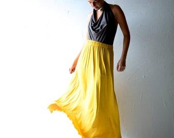 Maxi Skirt, Long skirt, Boho skirt, Bohemian clothing, womens skirt, Yellow skirt, Jersey skirt, Strapless dress, Maternity, Plus size skirt