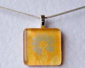 Handmade Glass Tile Yellow & Blue Flower Pendant