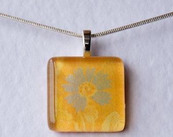 Handmade Glass Tile Yellow & Blue Flower Pendant