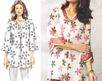 Vogue 1345 Sandra Betzina Pullover Top, Yoke, Layered Collar, Flounced Sleeve - Francais and English Instructions